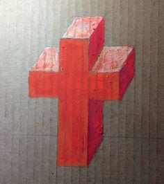 orange cross in oil pastel