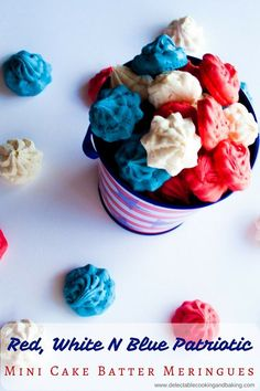 These Red White N Blue Mini Cake Batter Meringues are absolutely one of my favorite popper sized cookies! Bright, colorful, and fun…and best of all, they taste like cake frosting in cookie form! Get your patriotic themed party on with these conversation p 4th Of July Desserts, Fourth Of July Food, Holiday Desserts, July 4th, Light Desserts, Holiday Decorations, Mini Cakes, Cupcake Cakes, Cupcakes