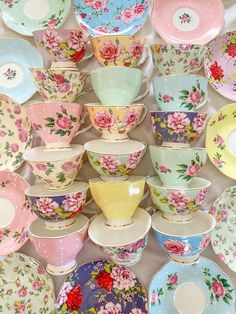 Mismatched Tea Cups and Saucers. Party favors for Bridal Shower, Baby Shower, Birthday Garden Tea Party, with tea, ribbon and personalized Bridesmaid Luncheon, Bridesmaid Gifts, Coffee Cups, Tea Cups, Bridal Shower, Baby Shower, Rose Tea, Summer Fruit, Vintage China