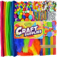 Pom Poms Crystal Sticker for Age 6 7 8 Beads Button Arts and Crafts Kit Supplies Wiggle Googly Eyes Sequins Pipe Cleaners Feather Arts and Crafts Kit Supplies for Kids