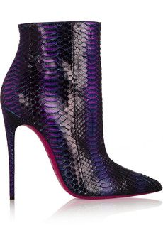 Christian Louboutin So Kate 120 watersnake ankle boots.