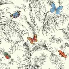 """York Wallcoverings Ashford Toiles Papillon 27' x 27"""" Floral Roll Wallpaper Color: Red/Blue/Green/Yellow/black"""