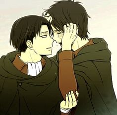 Eren crying in front of Levi who's comforting him, Ereri