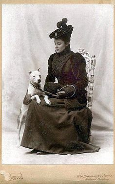 Vintage photo Woman with Pit Bull