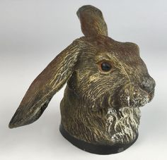 Antique Cold Painted Metal Rabbit Inkwell C. 1880