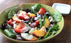 superfood week: peach and strawberry salad with honey-lime yogurt dressing