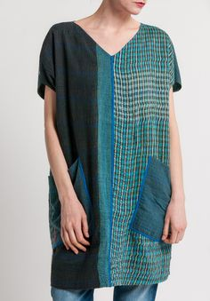 Mieko Mintz - 2-Layer Brocade Patched French Sleeve Tunic in Green