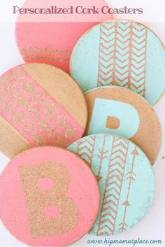 Personalized Cork Coasters --- so easy to make and perfect as hostess, new mom or new college student gifts!