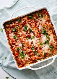 Fresh spinach artichoke lasagna with the simplest homemade red sauce - cookieandkate.com