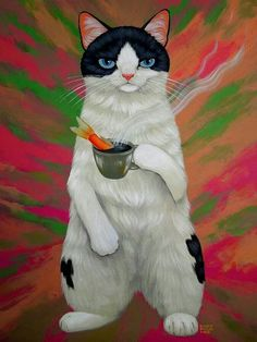 cats and fish I Love Cats, Crazy Cats, Cool Cats, Frida Art, Image Chat, Here Kitty Kitty, Cat Paws, Cat Drawing, Dog Art