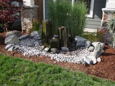 front yards with water feature | Front Yard Column Waterfall