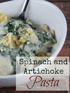 Spinach and Artichoke Pasta - With fun pasta, creamy cheese, nutritious spinach and artichokes and savory garlic, this is one spinach pasta recipe you'll want to serve again and again!