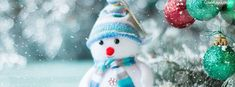 Christmas Tree Decorations Snowman Facebook Cover