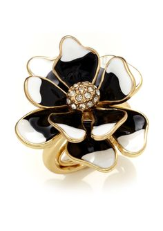 I love a KENNETH JAY LANE Solitaire Flower Ring Kenneth Jay Lane, Designer Collection, Heart Ring, Brooch, Black And White, My Style, Flower Rings, Jewelry, Fashion