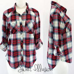 ROLLED UP SLEEVE PLAID SHIRT 100%POLY