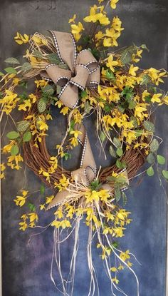 Forsythia wreath - Wreath Great for All Year Round - Everyday Burlap Wreath, Door Wreath, Front Door Wreath, wedding, forsythia by FarmHouseFloraLs on Etsy Forsythia Wreath, Grapevine Wreath, Burlap Wreaths, Burlap Ribbon, Mesh Wreaths, Wreath Hanger, Diy Wreath, Wreath Ideas, Tulle Wreath