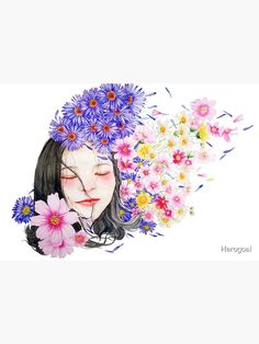 """I am a dreamer Hawaiian Girl"" Maske von Herogoal | Redbubble Art And Illustration, Floral Illustrations, Maya Angelou, Watercolor Portraits, Watercolor Art, Watercolor Flowers, Fools Garden, Hawaiian Girls, Canvas Prints"