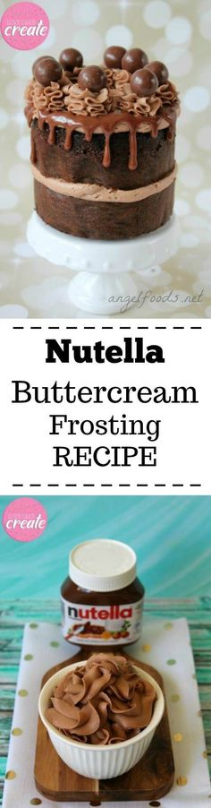 Nutella Buttercream Frosting Recipe | Transform your baked goods with a Nutella buttercream frosting that's decadent, smooth and creamy. With only 3 ingredients it's quick and easy to make and is perfect for layer cakes, swirled on cupcakes or sandwiched between macarons.