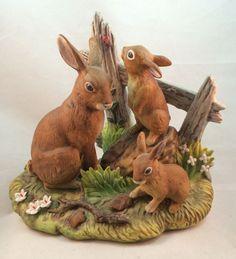 "Brown Rabbit Bunny Family Figurine Andrea by Sadek #6646 Rare 6 1/2"""