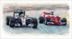 """2016 Champions Duel ...  Lewis Hamilton racing the Mercedes AMG Petronas W07 Hybrid against Sebastian Vettel in the Ferrari SF16-H.  Pen&ink, watercolour, acrylic and colour pencils on 24""""x 13"""" watercolour paper. © Paul Chenard 2016  Limited editions available."""