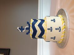 Nautical & chevron themed baby shower cake - courtesy of Decadent Designs bakery in Charlotte, NC