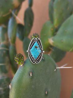 Diamond Kingman Turquoise Ring. Sterling by MojaveMoonJewelry