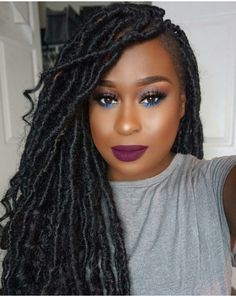 ELIGHTY Goddess Locs Crochet Hair Curly Ends Twist Hair Synthetic Fiber Extensions Dreadlocks 20 Strands/Pack Goddess Locs, Curly Hair Styles, Natural Hair Styles, Faux Locs Hairstyles, Girls Braids, African American Hairstyles, Relaxed Hair, Black Girls Hairstyles, Crochet Hair Styles