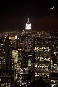 Photo of Empire State Building and Crescent Moon on Etsy by #jamesburger