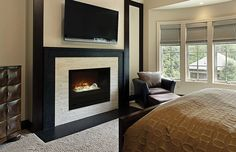 """The Home Fire 36"""" custom built-in electric firebox is one of a kind. It is extremely realistic, weather it's on or off."""