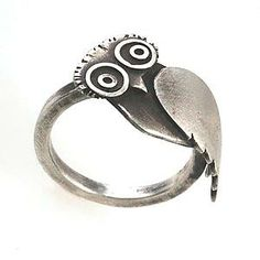 """Owl Ring""  Created by Susan Elnora  Textured and oxidized sterling silver ring constructed by hand from fabricated and cast components."