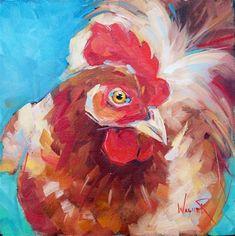 LOVELY CHICKEN by OLGA WAGNER - Original Fine Art for Sale - � Olga Wagner