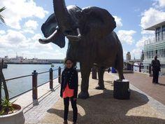 Me devant the big elephant hihi
