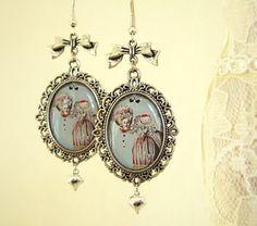 Marie Antoinette Earrings-Altered Art Earrings-Cameo Earrings