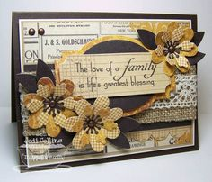 MFT Clearly Sentimental About Family  Clearly Sentimental About Family from My Favorite Things    Paper: Hot Fudge (MFT), Fossil (MFT), Choice Buttercream (TE) and Lost and Found Two/Sunshine (My Minds Eye)    Ink: Memento Tuxedo Black    Accessories: Layered Label Die-Namics, Simply Scallops Die-Namics, Prima Donna Petals Die-Namics, Brads, Burlap from MME, Crocheted Lace and Jody Boosters