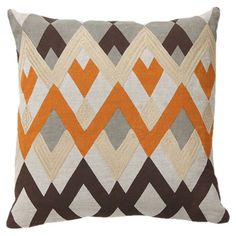 Linen pillow with a chevron motif and feather-down fill.