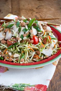 Grilled Chicken Broccoli Slaw Salad with Ginger Dressing/ sugarfreemom.com #lowcarb #clean #healthy