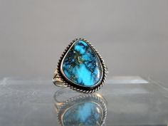 Vintage Navajo Ring Bisbee Turquoise Vintage Silver Ring Size 9 Natural Turquoise Ring Navajo Tribe Jewelry DanPickedMinerals    Beautiful deep