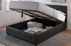 Platform Storage Bed Button Lift Leather Black Faux Headboard Tufted Frame Size #PlatformStorageBed