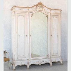 Louis XV Style White Cream and Gold Gilt Antique Armoire $16,495.00 #thebellacottage #shabbychic #eloquence