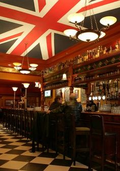 Union Jack ceiling, British themed Pub in Cleveland, Ohio called The Pub. In the USA!