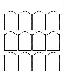 """Arched Labels - Dome Top Rectangle measures 1.7"""" x 2.5 - Decorative Scallop Top Label for laser and inkjet printers."""