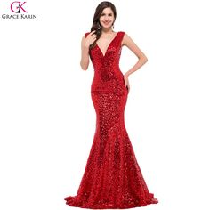 Longue Sirène Robes De Bal Grâce Karin Sequin V Cou Noir Rouge or Bleu Formelle Robes Robe De Soirée Longue Partie Robe De Bal