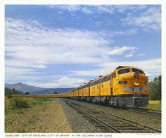 """Domeliner """"City of Portland - City of Denver"""" in the Columbia River Gorge in 1965 Heritage Train, Fort Morgan, Pacific City, Denver City, Milwaukee Road, Portland City, Union Pacific Railroad, Columbia River Gorge, Train Pictures"""