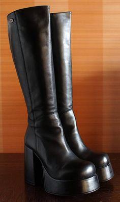 90s Boots, Biker Boots, Riding Boots, Platform Boots Outfit, Shoe Boots, 90s Platform Shoes, Lace Up Boots, Leather Boots, Black Boots