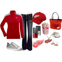Detroit Red Wings! Can't wait to go to a game wearing this :), created by chelseawate on Polyvore