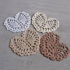 Little beige crochet heart Appliques shapes small by MyWealth