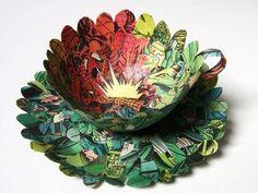 Artist repurposes vintage books as exquisite paper cups & bowls