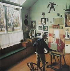 Norman Rockwell in his studio
