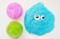 Create glitter slime for your kids to play with.