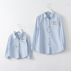 2017 New Arrival Family Matching Mother Daughter Handed Embroidery Fox Blue Striped Long Sleeve Shirts Fashion Casual Blouse